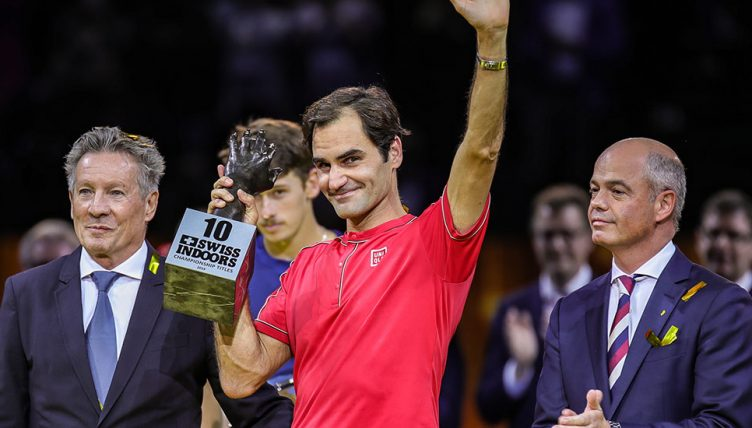 Roger Federer with 10th Basel trophy