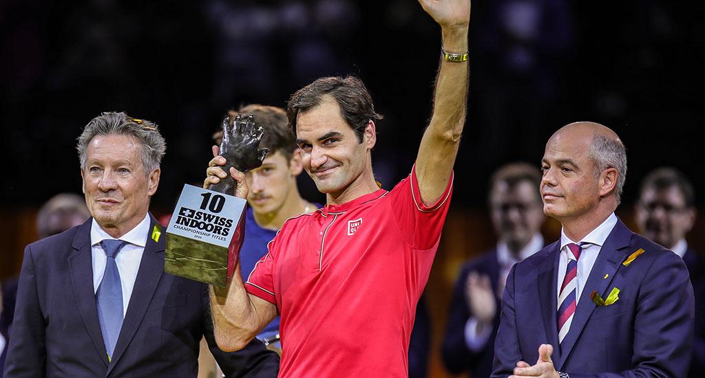 Roger Federer with 10th Basel trophy