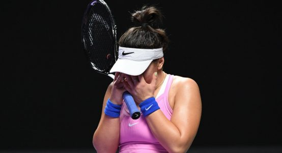 A disappointed Bianca Andreescu