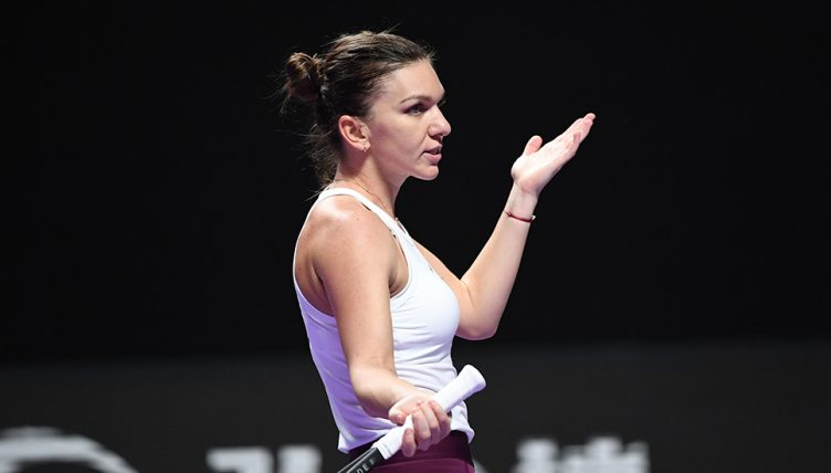 Simona Halep reacts at WTA Finals