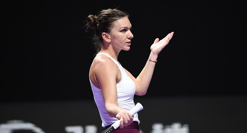 Simona Halep reacts at WTA Finals