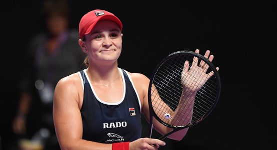 Ashleigh Barty celebrates at WTA Finals