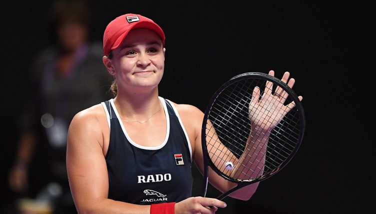 Ashleigh Barty celebrates at WTA Finals