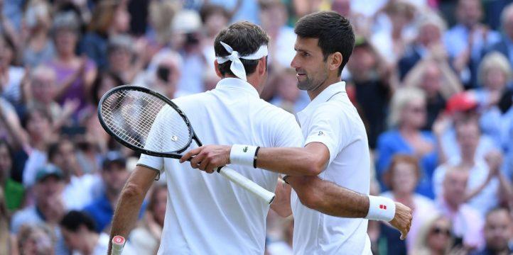 Roger Federer and Novak Djokovic at Wimbledon