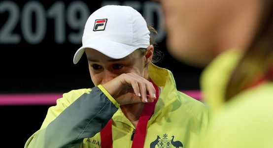 Ashleigh Barty in tears at Fed Cup