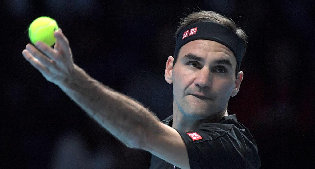 Roger Federer serving at ATP Finals