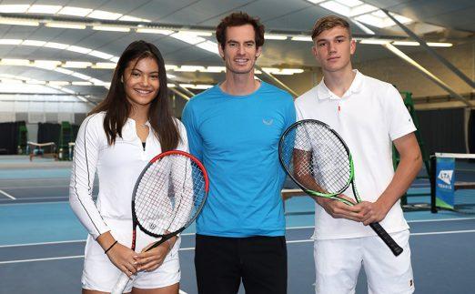 Andy Murray with Future Talent Award winners Emma Raducanu and Jack Draper