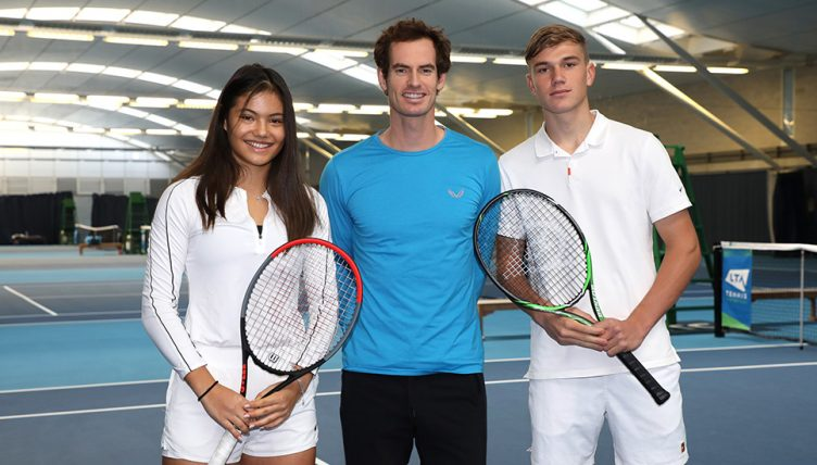 Andy Murray with Future Talent Award winners Emma Raducanu and Jack Draper