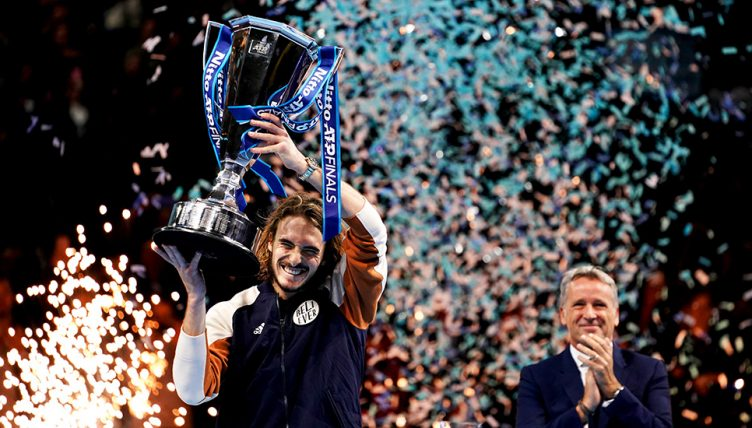 Stefanos Tsitsipas with ATP Finals trophy