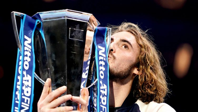 Stefanos Tsitsipas kissing ATP Finals trophy - and sending warning to Rafael Nadal and Novak Djokovic