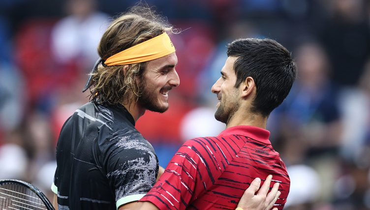 Stefanos Tsitsipas and Novak Djokovic