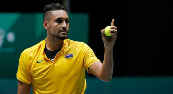 Nick Kyrgios pointing a finger