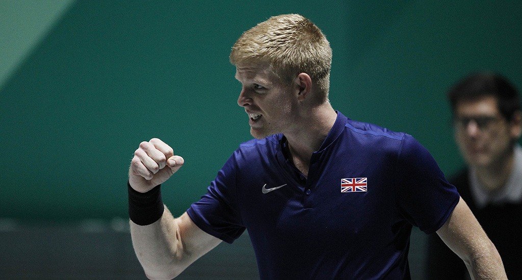 Kyle Edmund - standing in for Andy Murray - after Davis Cup win