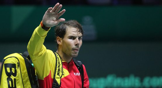 Rafael Nadal salutes crowd at Davis Cup