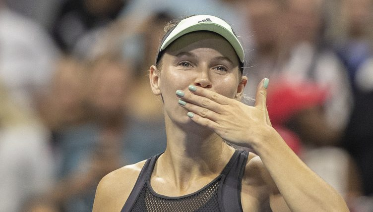 Caroline Wozniacki blowing kisses