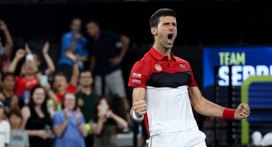 Novak Djokovic celebrates at ATP Cup