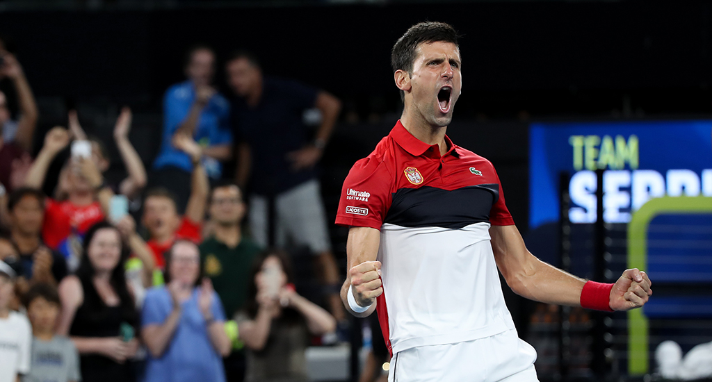 Novak Djokovic celebrates at ATP Cup