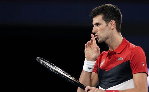 Novak Djokovic reacts to crowd at ATP Cup
