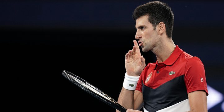 Novak Djokovic reacts to crowd at ATP Cup