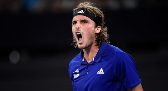 Stefanos Tsitsipas screaming