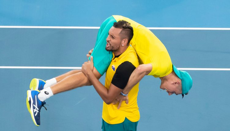 Nick Kyrgios and Alex de Minaur celebrating