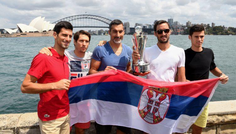 Serbia ATP Cup squad Novak Djokovic, Dusan Lajovic, captain Nenad Zimonjic, Viktor Troicki and Nikola Milojevic