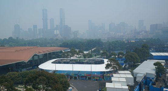 Melbourne Park hazy skyline ahead of Australian Open