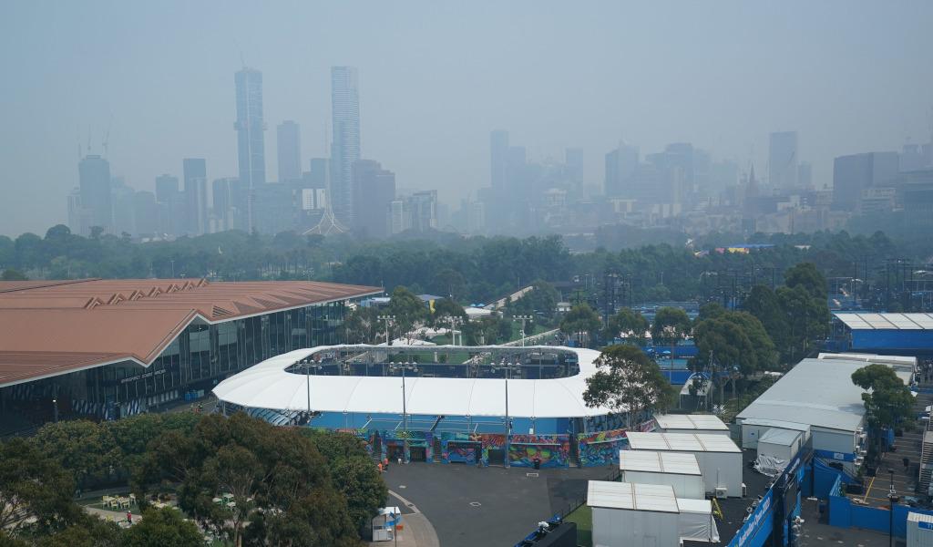 Melbourne Park hazy skyline ahead of Australian Open