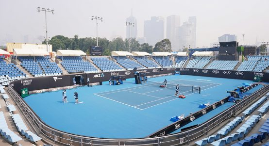 Smoky skies at the Australian Open venue