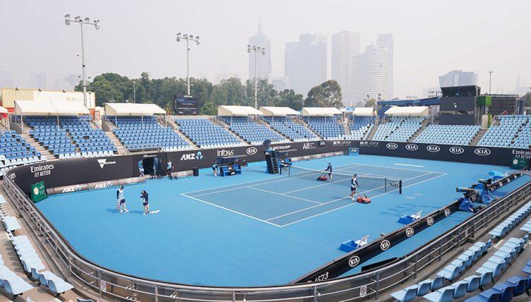 Smoky skies at the Australian Open venue