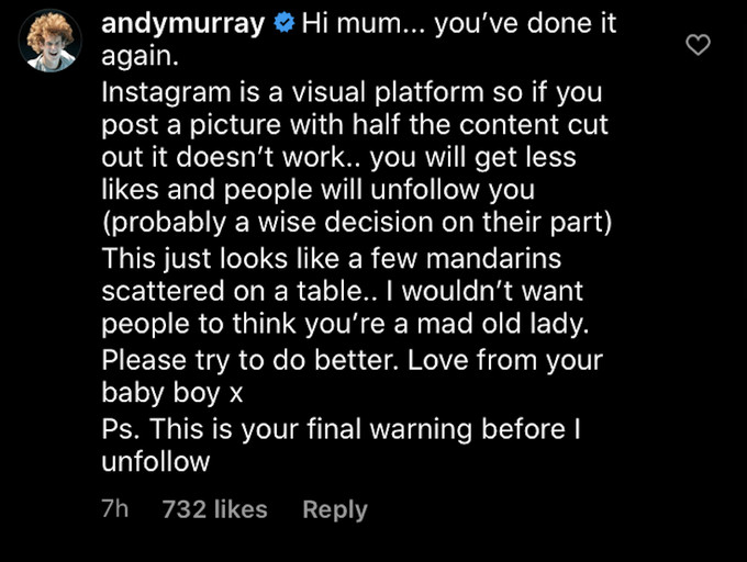 Andy Murray Instagram reply