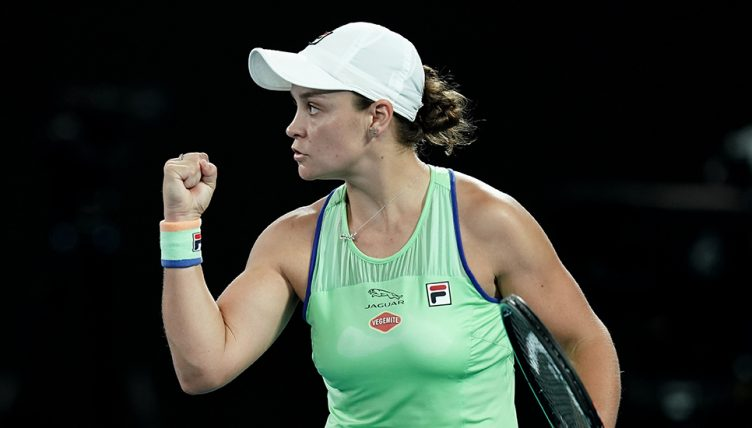 Ashley Barty celebrates at Australian Open