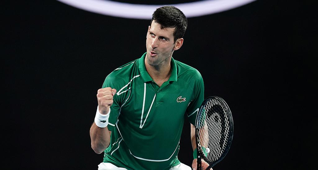 Novak Djokovic celebrates at Australian Open