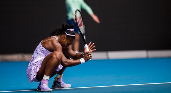 Serena Williams down and out