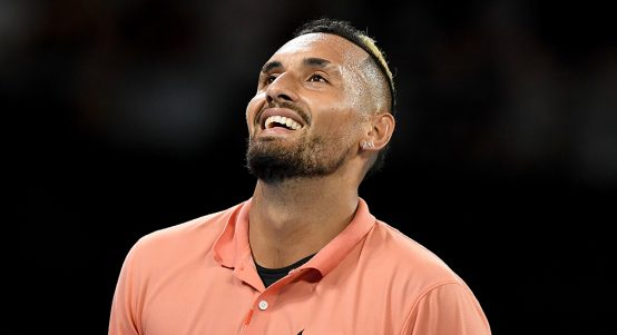 Nick Kyrgios looks to the heavens