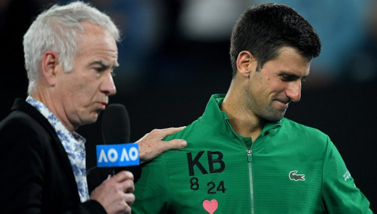 Novak Djokovic emotional while paying tribute to Kobe Bryant