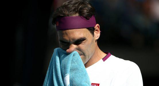 A concerned Roger Federer
