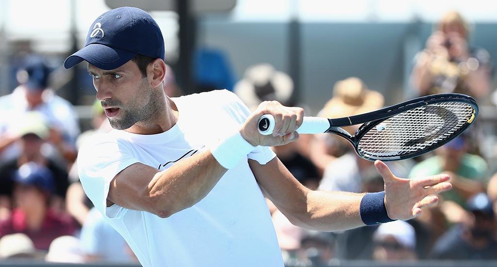 Novak Djokovic in practice