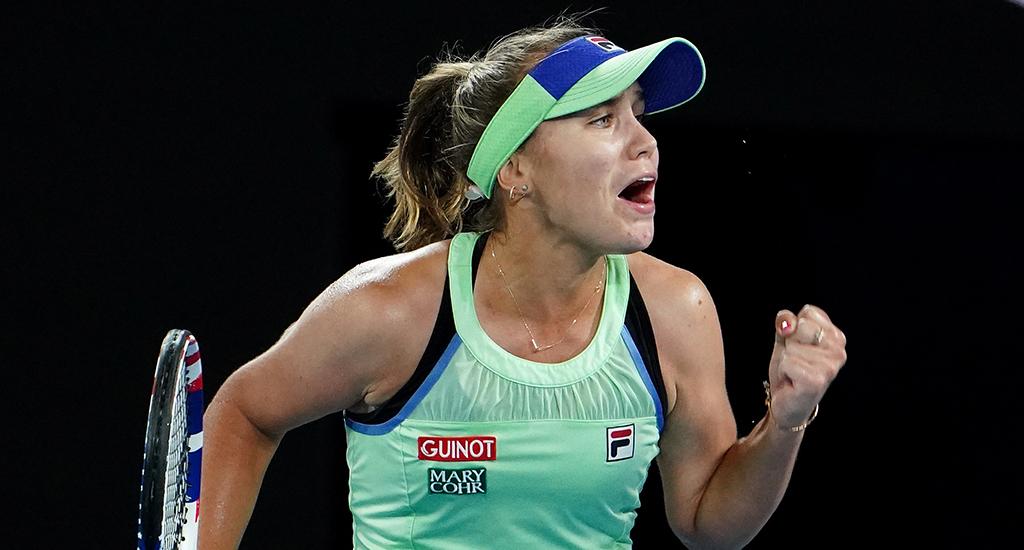 Sofia Kenin celebrates Australian Open win