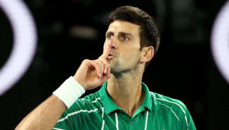 Novak Djokovic gestures