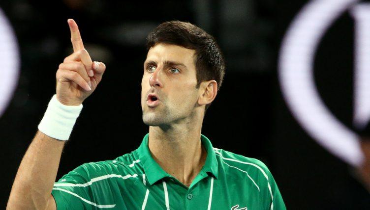 Novak Djokovic pointing