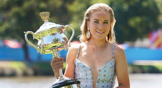 Sofia Kenin with Australian Open trophy photoshoot