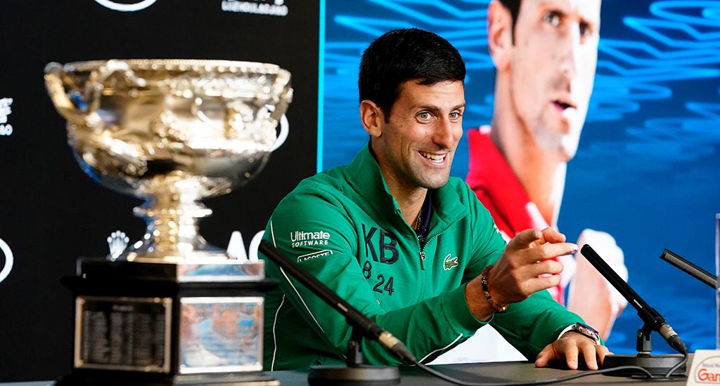 Novak Djokovic laughing at Australian Open press conference