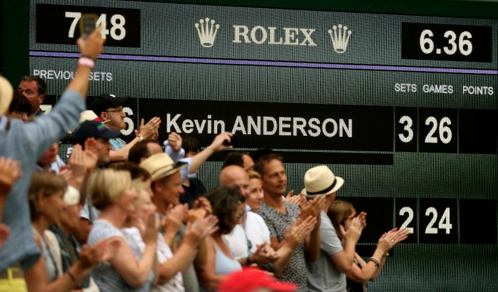 Kevin Anderson and John Isner 2018 Wimbledon scoreboard