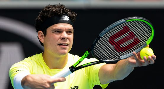 Milos Raonic serving at Australian Open