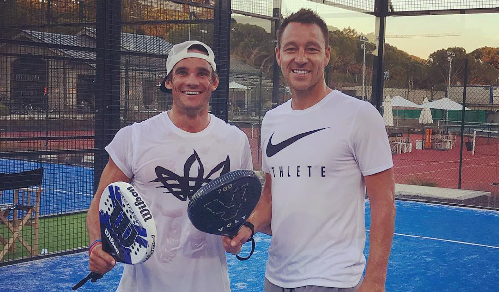 Max Evans and former Chelsea footballer John Terry playing padel