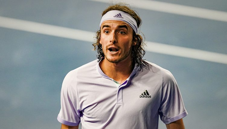 Stefanos Tsitsipas reacts