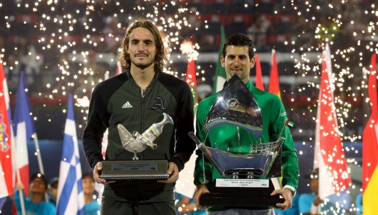 Stefanos Tsitsipas and Novak Djokovic in Duba