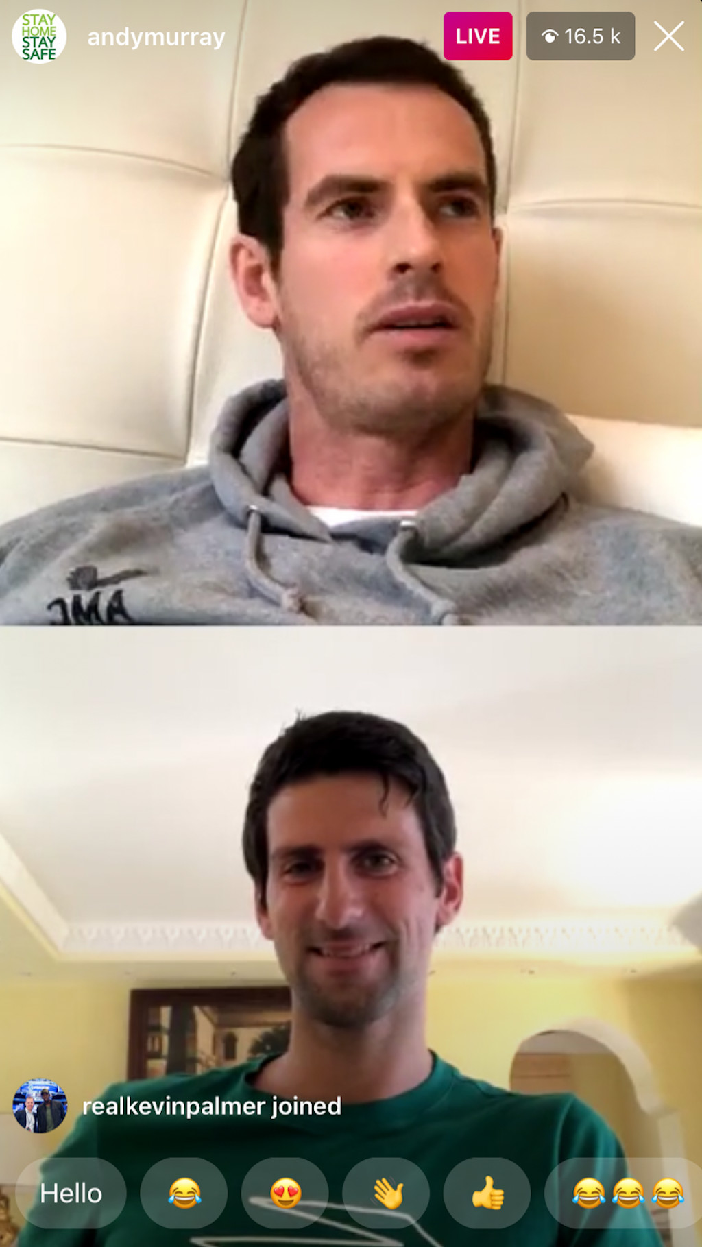 Andy Murray and Novak Djokovic Live Instagram Chat