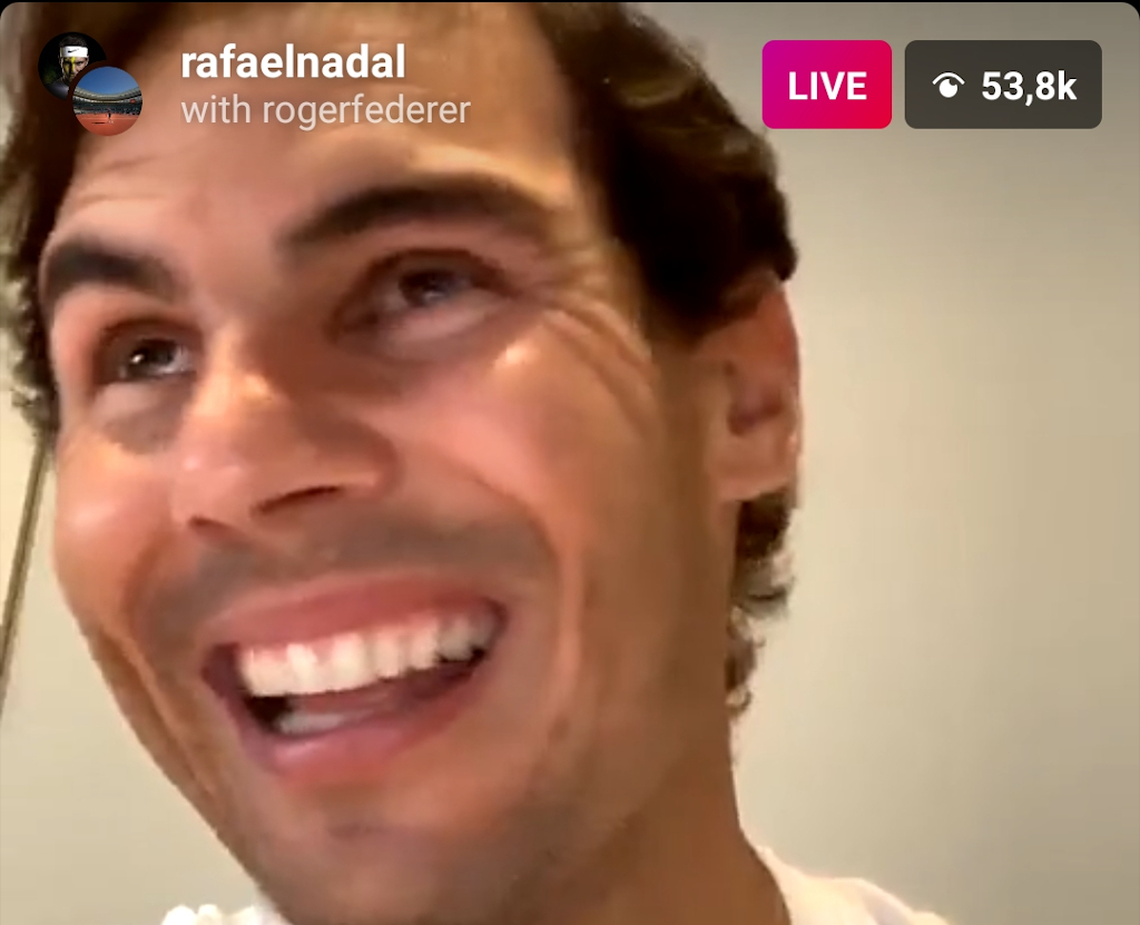 Rafael Nadal laughing on Instagram Live